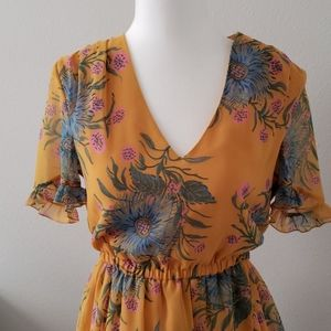 Madewell Yellow Foral Chiffon Mini Dress